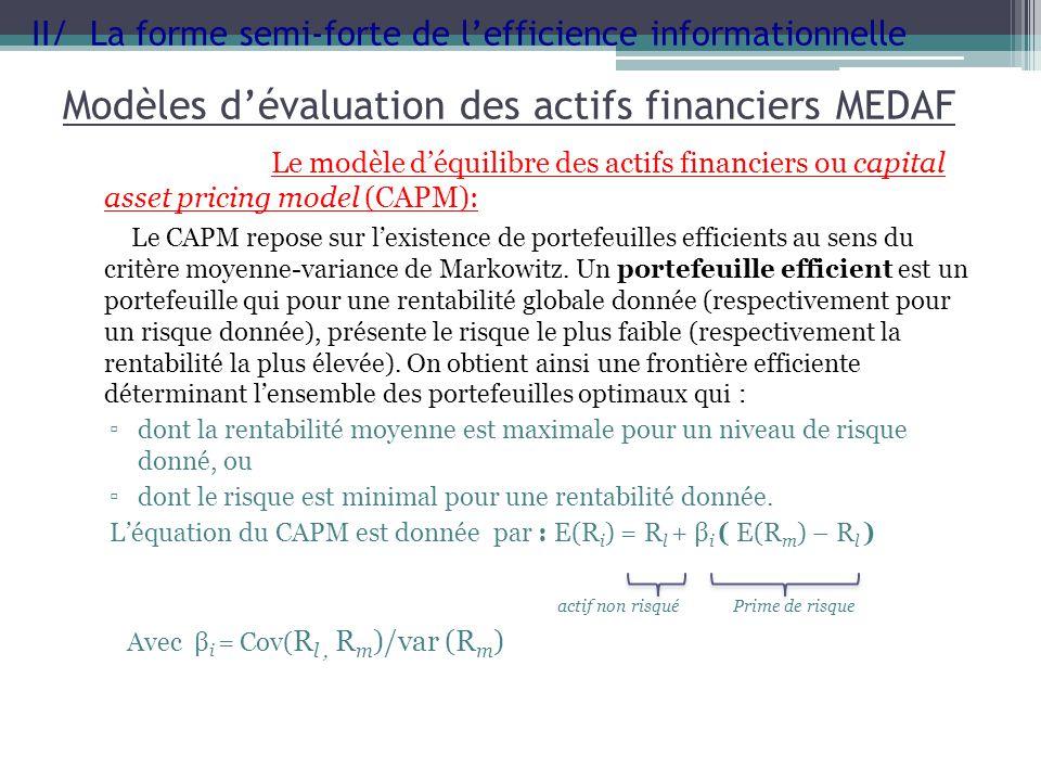 Modèles dévaluation des actifs financiers MEDAF Le modèle déquilibre des actifs financiers ou capital asset pricing model (CAPM): Le CAPM repose sur l