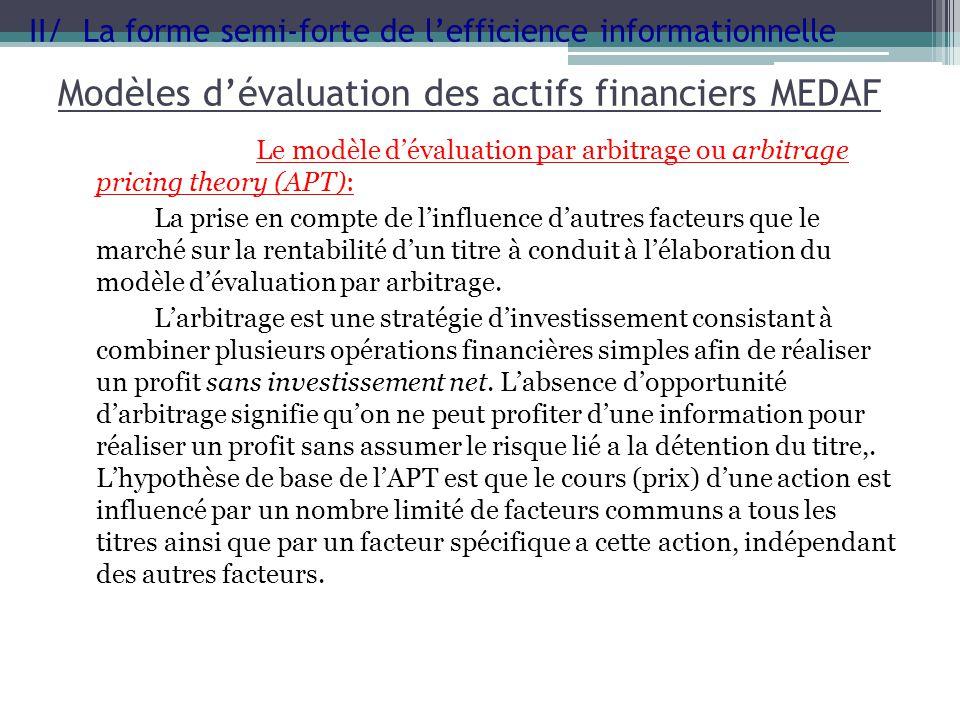 Modèles dévaluation des actifs financiers MEDAF Le modèle dévaluation par arbitrage ou arbitrage pricing theory (APT): La prise en compte de linfluenc