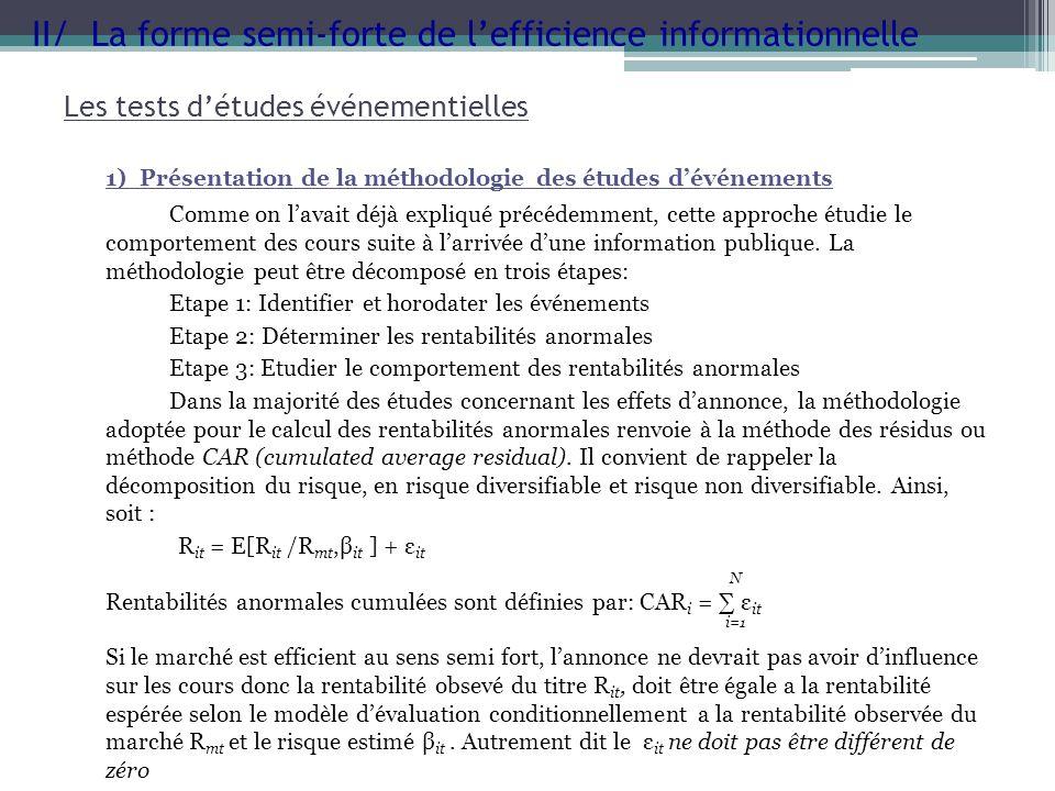 Les tests détudes événementielles 1) Présentation de la méthodologie des études dévénements Comme on lavait déjà expliqué précédemment, cette approche