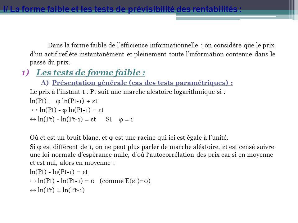 B)Quelques autres tests (non paramétriques): Tests des runs : Un run se définit comme une séquence dobservations successives de même signe.
