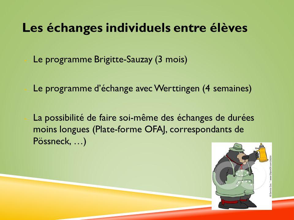 Les échanges individuels entre élèves - Le programme Brigitte-Sauzay (3 mois) - Le programme déchange avec Werttingen (4 semaines) - La possibilité de