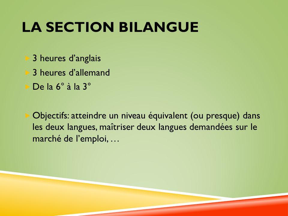 LA SECTION BILANGUE 3 heures danglais 3 heures dallemand De la 6° à la 3° Objectifs: atteindre un niveau équivalent (ou presque) dans les deux langues