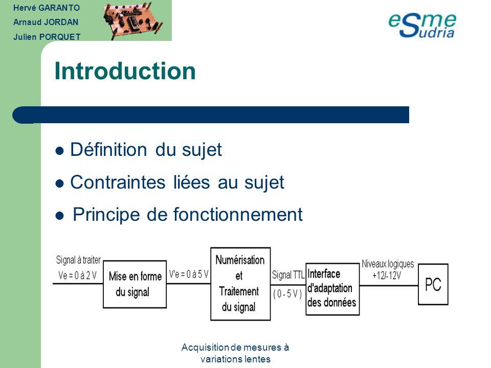 Acquisition de mesures à variations lentes I - Mise en forme du signal avant le PIC Rôle du dispositif Hervé GARANTO Arnaud JORDAN Julien PORQUET Constitution