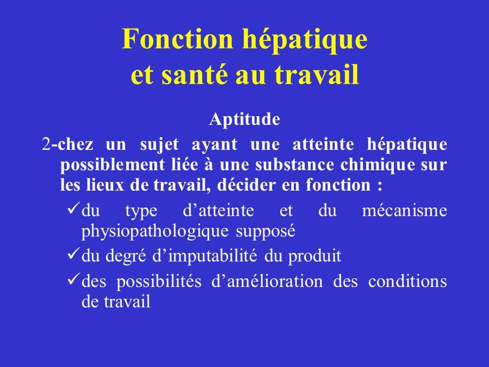Fonction hépatique et santé au travail Aptitude 2-chez un sujet ayant une atteinte hépatique possiblement liée à une substance chimique sur les lieux