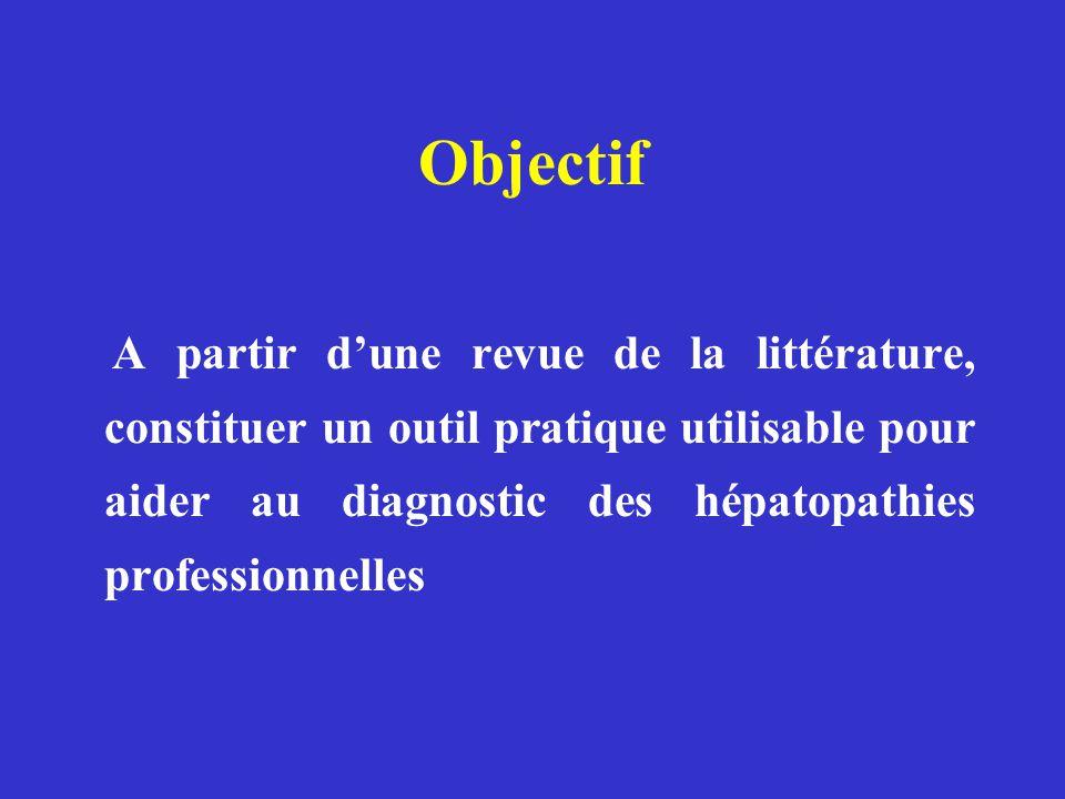 Objectif A partir dune revue de la littérature, constituer un outil pratique utilisable pour aider au diagnostic des hépatopathies professionnelles