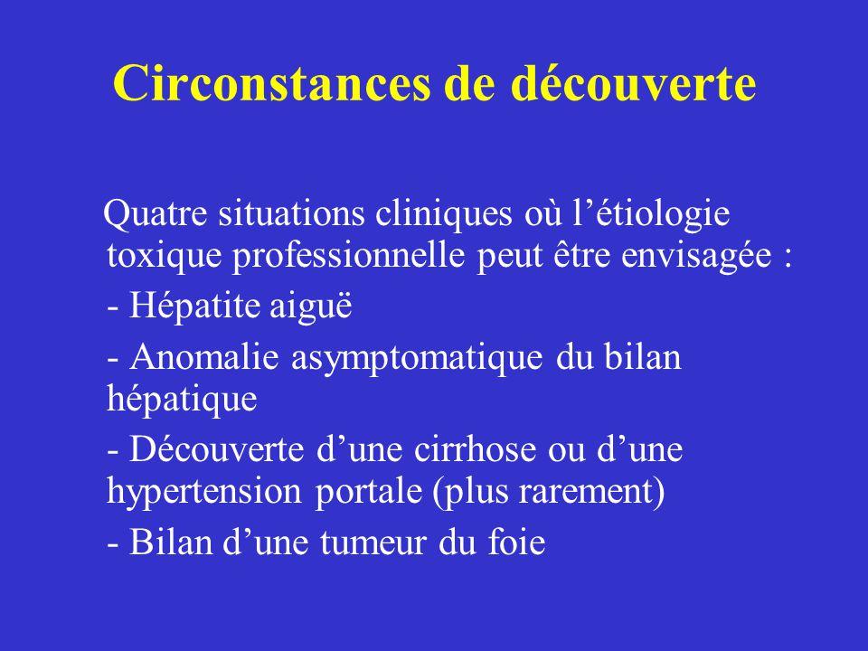 Circonstances de découverte Quatre situations cliniques où létiologie toxique professionnelle peut être envisagée : - Hépatite aiguë - Anomalie asympt