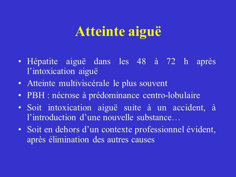 Atteinte aiguë Hépatite aiguë dans les 48 à 72 h après lintoxication aiguë Atteinte multiviscérale le plus souvent PBH : nécrose à prédominance centro