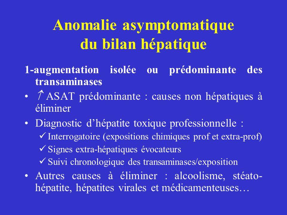 Anomalie asymptomatique du bilan hépatique 1-augmentation isolée ou prédominante des transaminases ASAT prédominante : causes non hépatiques à élimine