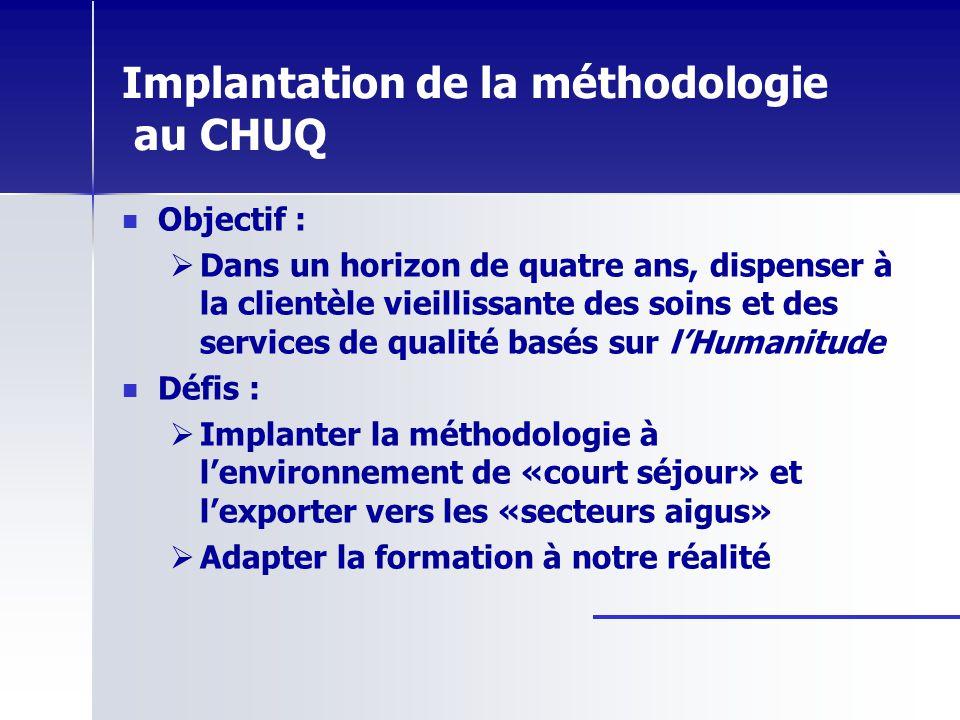 Implantation de la méthodologie au CHUQ Objectif : Dans un horizon de quatre ans, dispenser à la clientèle vieillissante des soins et des services de