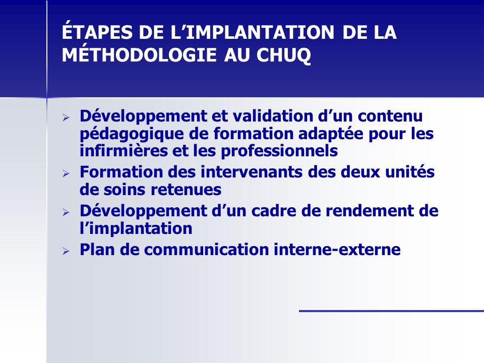 ÉTAPES DE LIMPLANTATION DE LA MÉTHODOLOGIE AU CHUQ Développement et validation dun contenu pédagogique de formation adaptée pour les infirmières et le