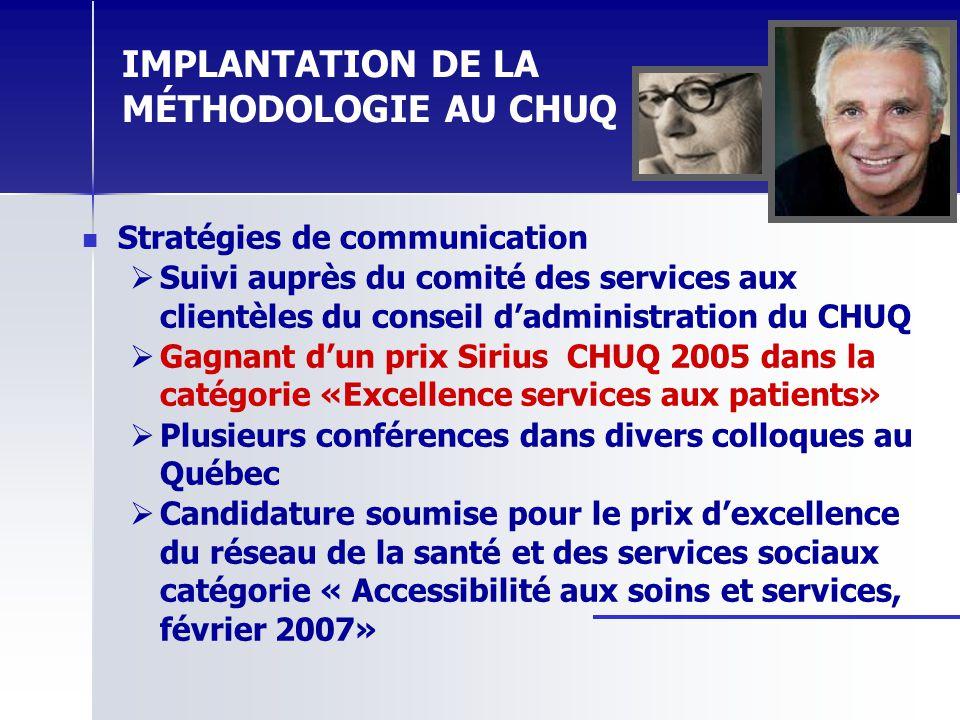 IMPLANTATION DE LA MÉTHODOLOGIE AU CHUQ Stratégies de communication Suivi auprès du comité des services aux clientèles du conseil dadministration du C