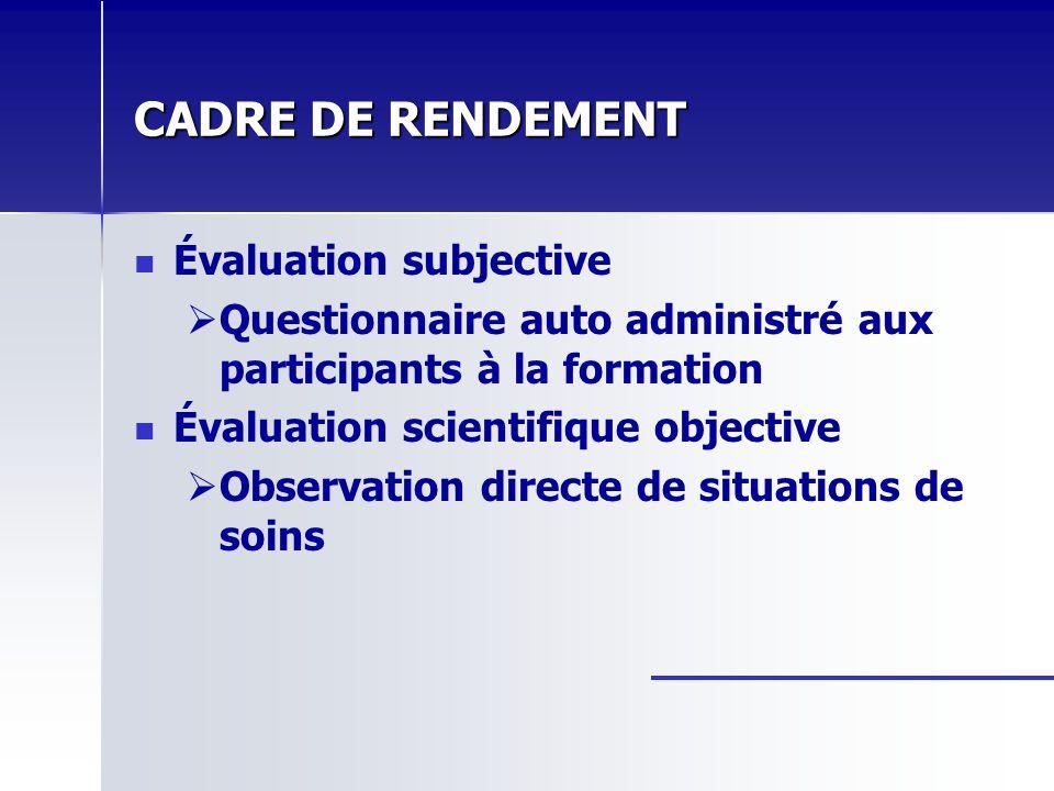 CADRE DE RENDEMENT Évaluation subjective Questionnaire auto administré aux participants à la formation Évaluation scientifique objective Observation d