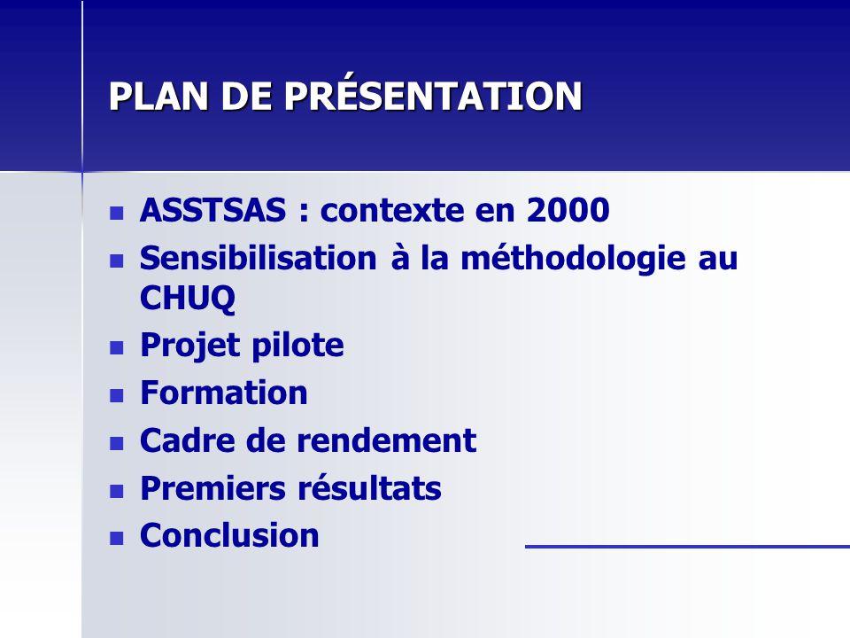 PLAN DE PRÉSENTATION ASSTSAS : contexte en 2000 Sensibilisation à la méthodologie au CHUQ Projet pilote Formation Cadre de rendement Premiers résultat