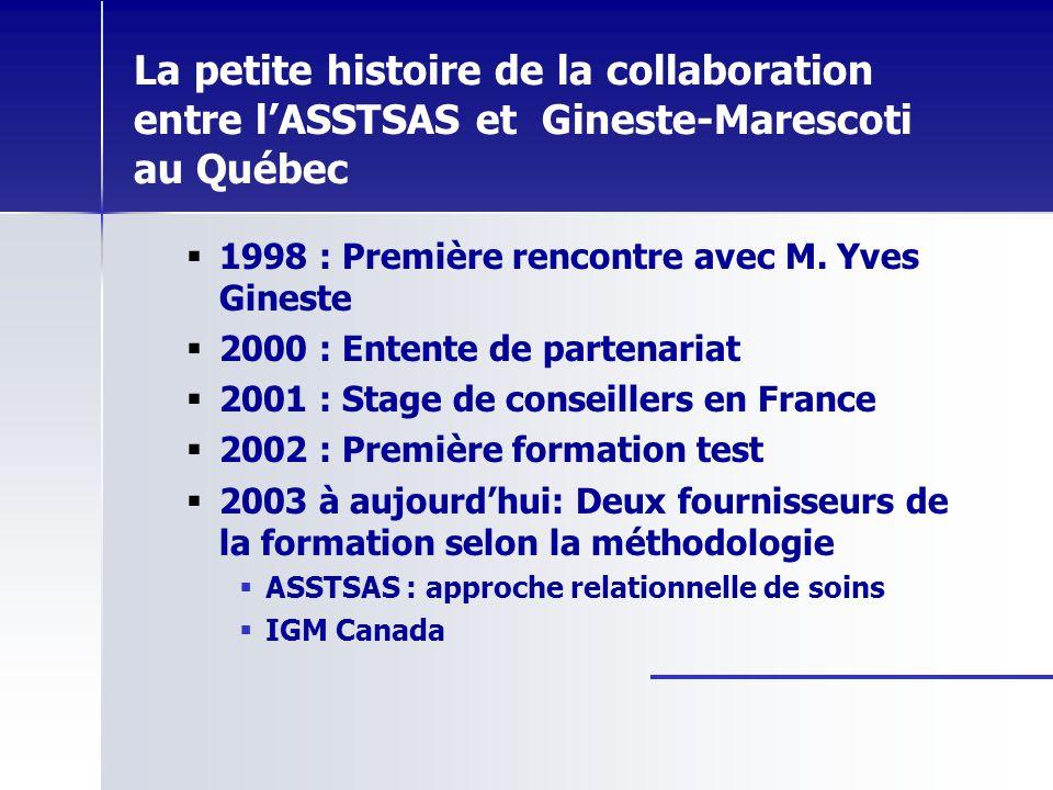 La petite histoire de la collaboration entre lASSTSAS et Gineste-Marescoti au Québec 1998 : Première rencontre avec M. Yves Gineste 2000 : Entente de