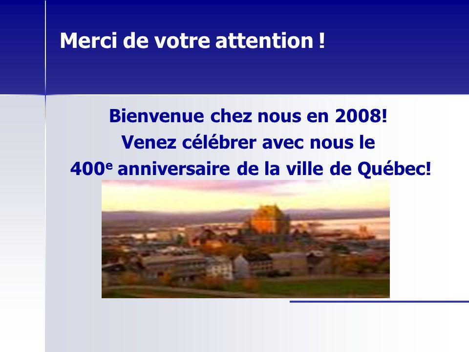 Merci de votre attention ! Bienvenue chez nous en 2008! Venez célébrer avec nous le 400 e anniversaire de la ville de Québec!