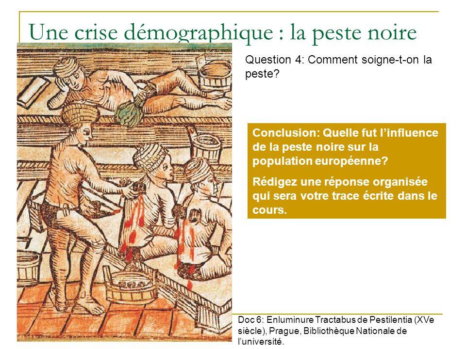 Une crise démographique : la peste noire Doc 6: Enluminure Tractabus de Pestilentia (XVe siècle), Prague, Bibliothèque Nationale de luniversité.