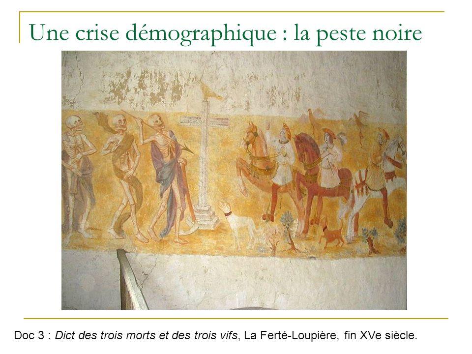 Une crise démographique : la peste noire Doc 3 : Dict des trois morts et des trois vifs, La Ferté-Loupière, fin XVe siècle.
