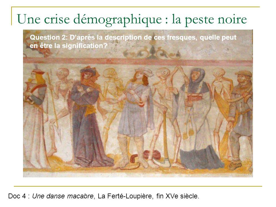 Une crise démographique : la peste noire Doc 4 : Une danse macabre, La Ferté-Loupière, fin XVe siècle.