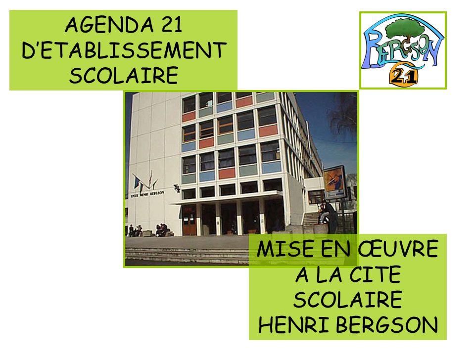 MISE EN ŒUVRE A LA CITE SCOLAIRE HENRI BERGSON AGENDA 21 DETABLISSEMENT SCOLAIRE