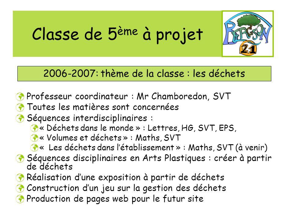 Classe de 5 ème à projet 2006-2007: thème de la classe : les déchets Professeur coordinateur : Mr Chamboredon, SVT Toutes les matières sont concernées