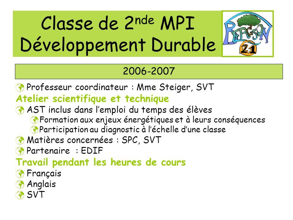 Classe de 2 nde MPI Développement Durable 2006-2007 Professeur coordinateur : Mme Steiger, SVT Atelier scientifique et technique AST inclus dans lempl