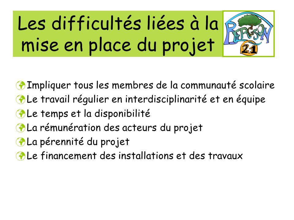 Les difficultés liées à la mise en place du projet Impliquer tous les membres de la communauté scolaire Le travail régulier en interdisciplinarité et