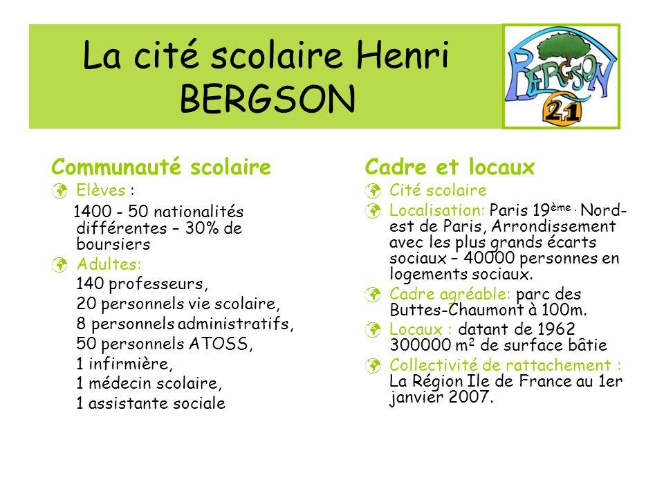 La cité scolaire Henri BERGSON Cadre et locaux Cité scolaire Localisation: Paris 19 ème. Nord- est de Paris, Arrondissement avec les plus grands écart