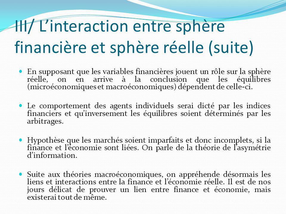 III/ Linteraction entre sphère financière et sphère réelle (suite) En supposant que les variables financières jouent un rôle sur la sphère réelle, on