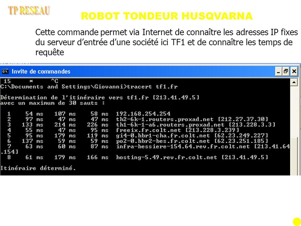 ROBOT TONDEUR HUSQVARNA Cette commande permet via Internet de connaître les adresses IP fixes du serveur dentrée dune société ici TF1 et de connaître les temps de requête