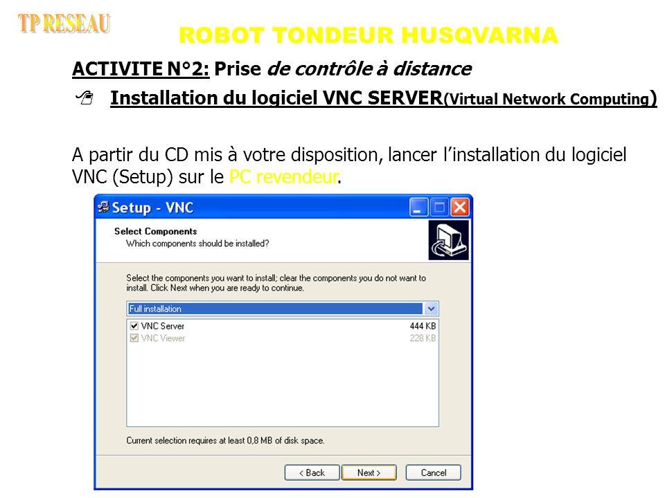 ROBOT TONDEUR HUSQVARNA Installation du logiciel VNC SERVER (Virtual Network Computing ) A partir du CD mis à votre disposition, lancer l installation du logiciel VNC (Setup) sur le PC revendeur.