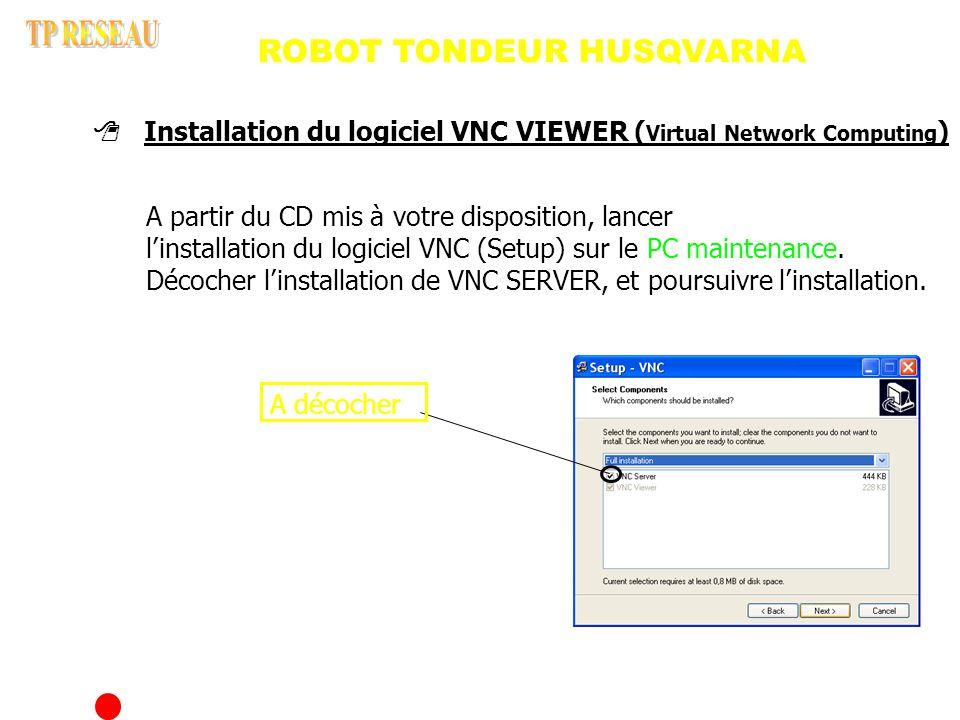 A décocher Installation du logiciel VNC VIEWER ( Virtual Network Computing ) A partir du CD mis à votre disposition, lancer l installation du logiciel VNC (Setup) sur le PC maintenance.