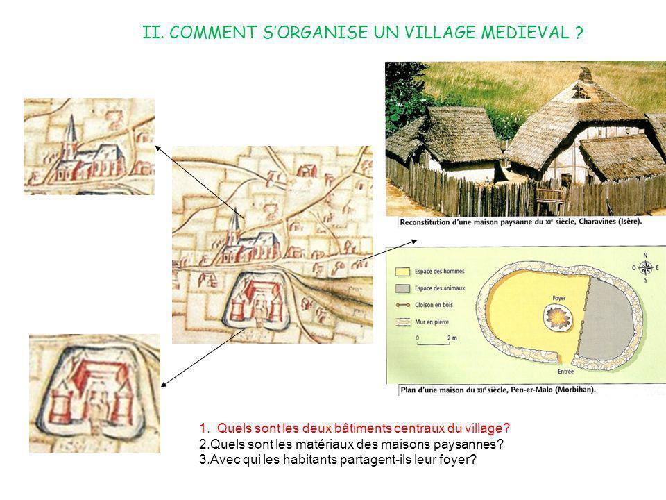 II. COMMENT SORGANISE UN VILLAGE MEDIEVAL ? 1. Quels sont les deux bâtiments centraux du village? 2.Quels sont les matériaux des maisons paysannes? 3.