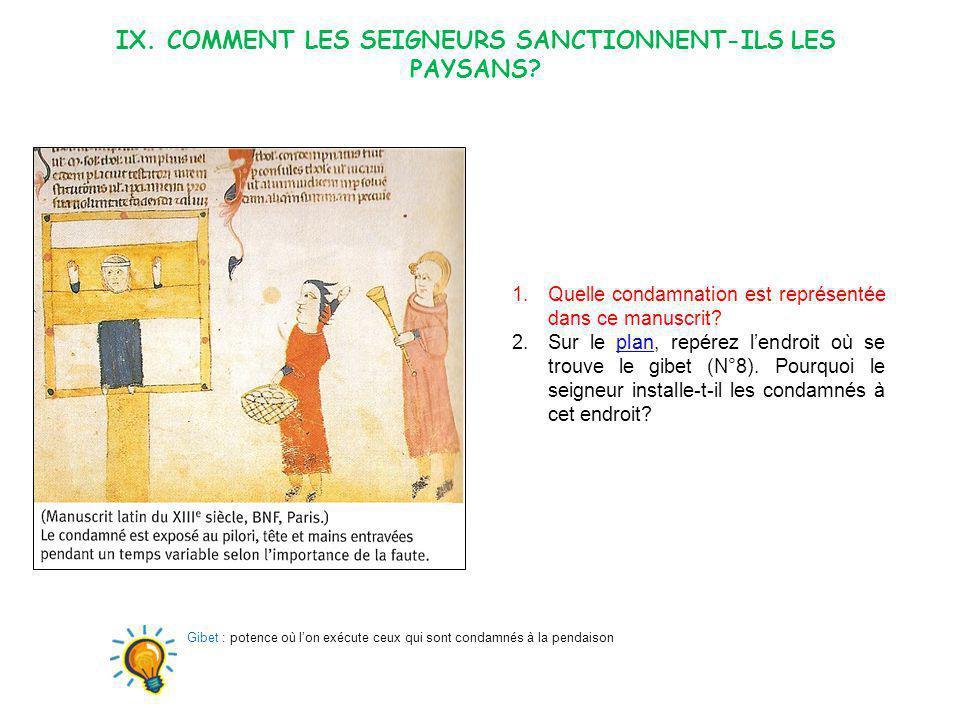IX. COMMENT LES SEIGNEURS SANCTIONNENT-ILS LES PAYSANS? 1.Quelle condamnation est représentée dans ce manuscrit? 2.Sur le plan, repérez lendroit où se