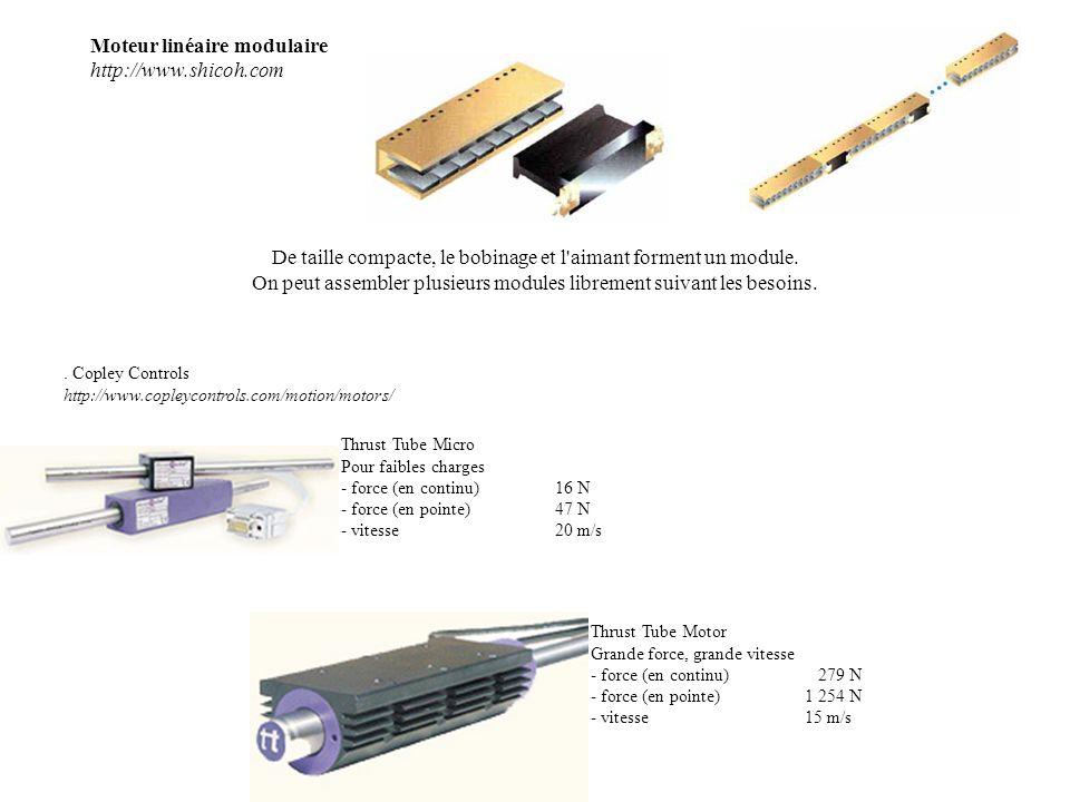 Moteur linéaire modulaire http://www.shicoh.com De taille compacte, le bobinage et l'aimant forment un module. On peut assembler plusieurs modules lib