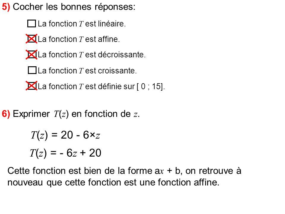 5) Cocher les bonnes réponses: La fonction T est linéaire. La fonction T est affine. La fonction T est décroissante. La fonction T est croissante. La