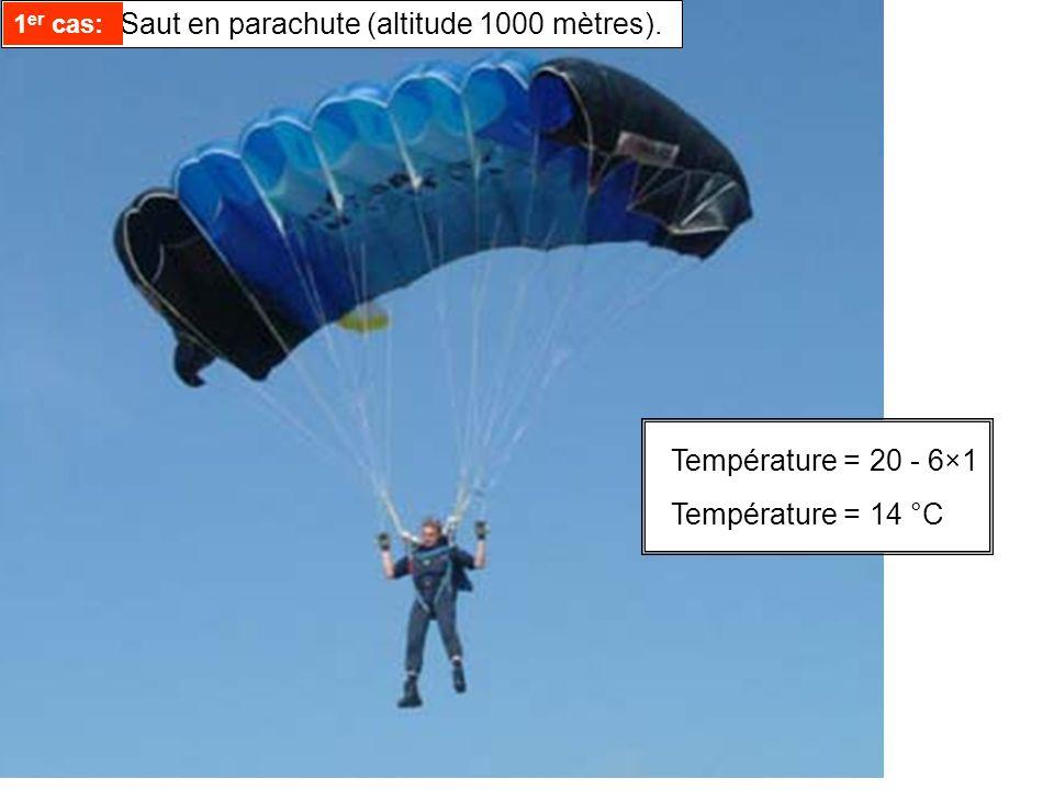 Température =20 - 6×1 Température =14 °C 1 er cas: Saut en parachute (altitude 1000 mètres).