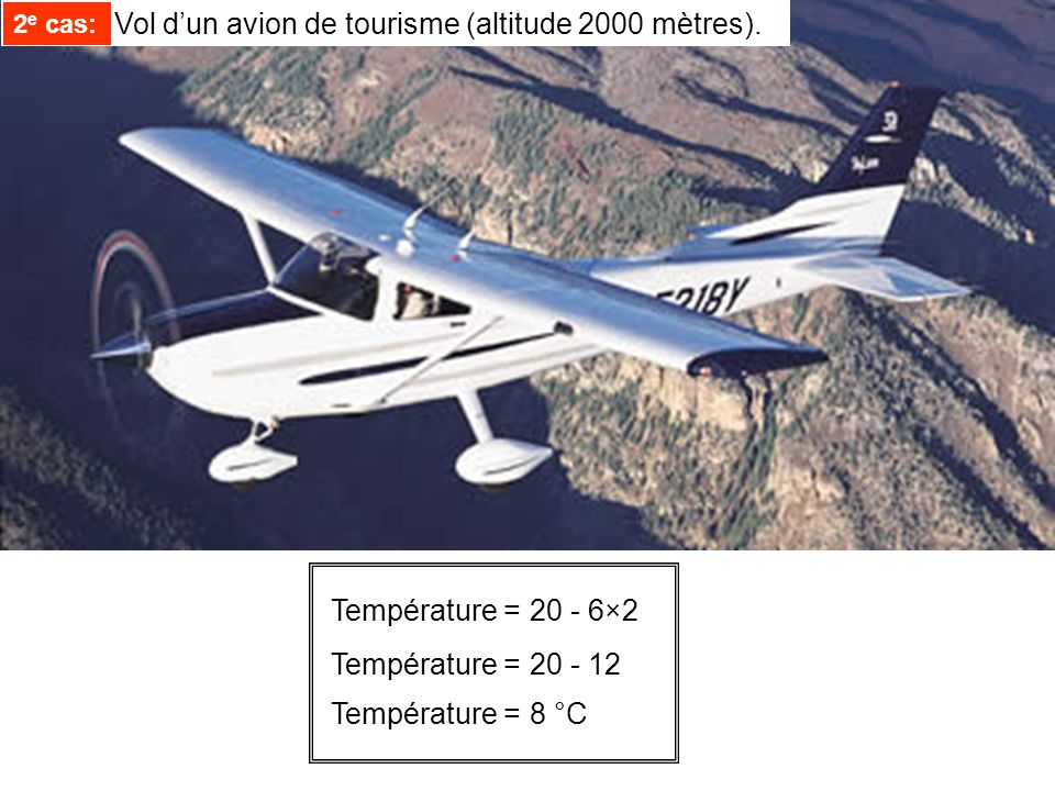 Température =20 - 6×2 Température =20 - 12 Température =8 °C 2 e cas: Vol dun avion de tourisme (altitude 2000 mètres). 2 e cas: