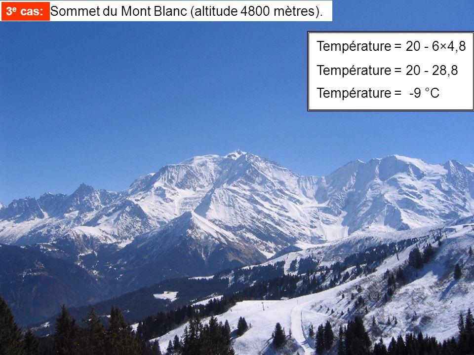 Température =20 - 6×4,8 Température =20 - 28,8 Température = -9 °C 3 e cas: Sommet du Mont Blanc (altitude 4800 mètres). 3 e cas: