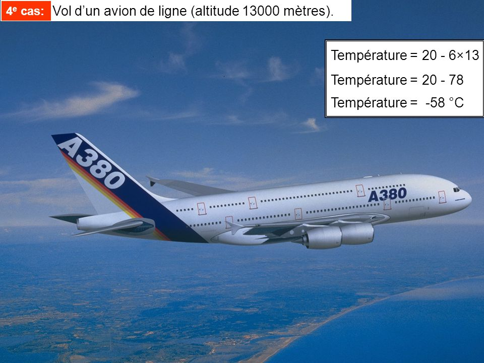 Température =20 - 6×13 Température =20 - 78 Température = -58 °C 4 e cas: Vol dun avion de ligne (altitude 13000 mètres). 4 e cas:
