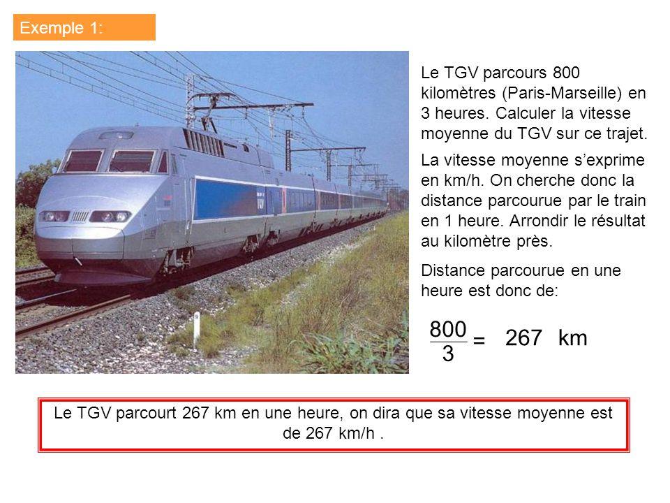 Exemple 1: Le TGV parcours 800 kilomètres (Paris-Marseille) en 3 heures. Calculer la vitesse moyenne du TGV sur ce trajet. La vitesse moyenne sexprime