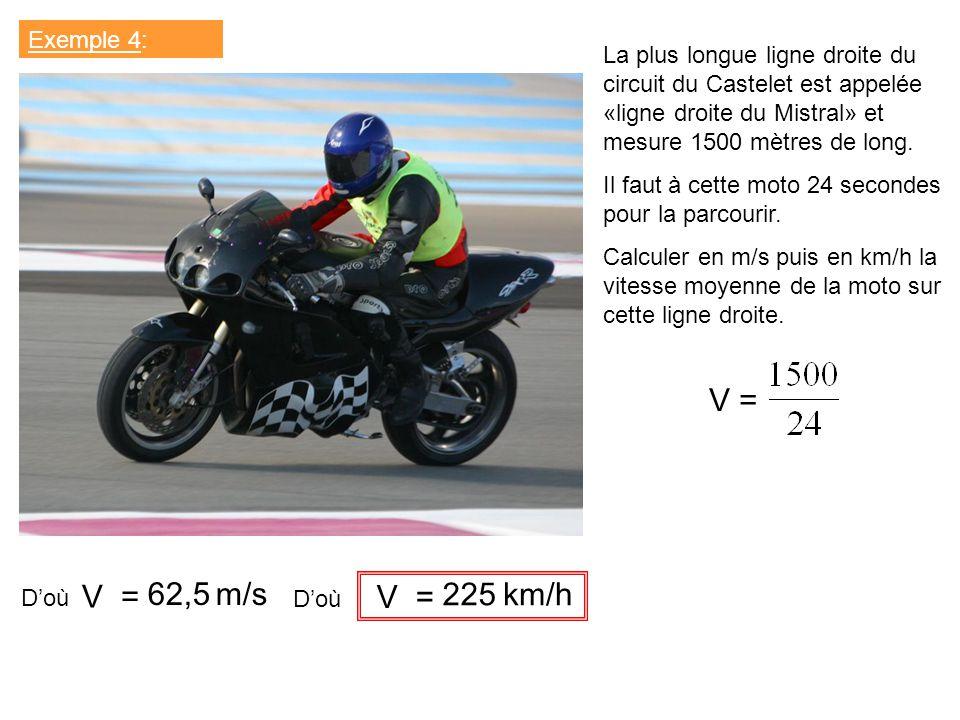 Exemple 4: La plus longue ligne droite du circuit du Castelet est appelée «ligne droite du Mistral» et mesure 1500 mètres de long. Il faut à cette mot