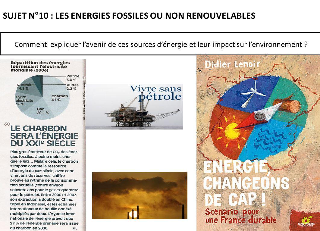SUJET N°10 : LES ENERGIES FOSSILES OU NON RENOUVELABLES Comment expliquer lavenir de ces sources dénergie et leur impact sur lenvironnement ?
