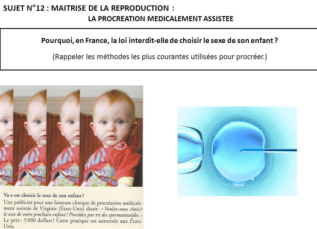 Pourquoi, en France, la loi interdit-elle de choisir le sexe de son enfant ? (Rappeler les méthodes les plus courantes utilisées pour procréer.) SUJET