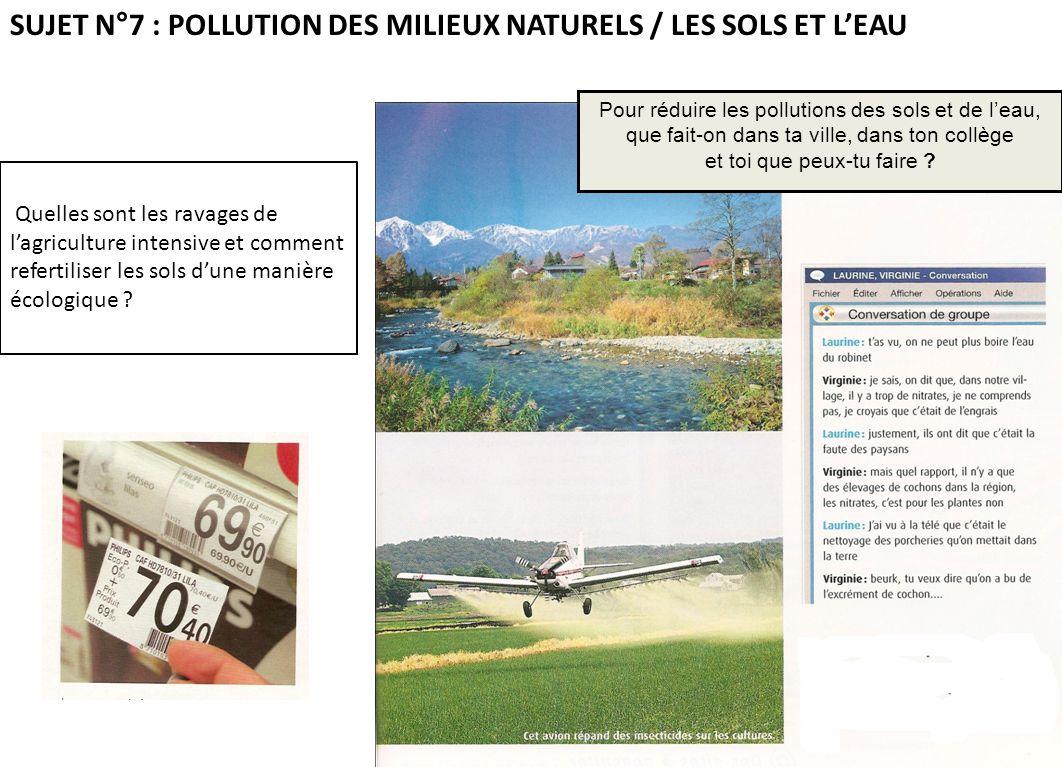 SUJET N°7 : POLLUTION DES MILIEUX NATURELS / LES SOLS ET LEAU Quelles sont les ravages de lagriculture intensive et comment refertiliser les sols dune