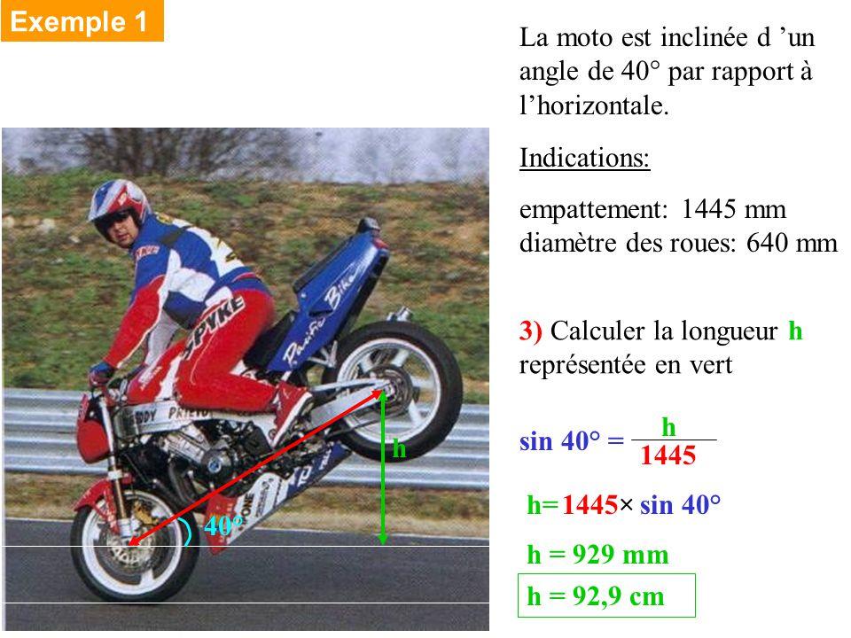 La moto est inclinée d un angle de 40° par rapport à lhorizontale.