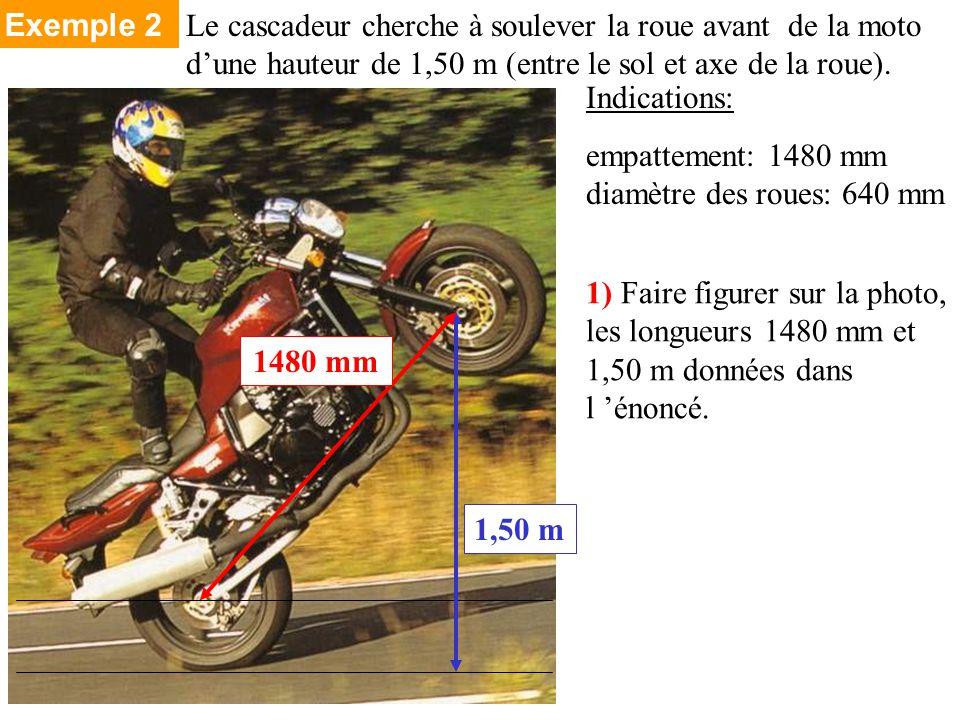 Indications: empattement: 1480 mm diamètre des roues: 640 mm 1) Faire figurer sur la photo, les longueurs 1480 mm et 1,50 m données dans l énoncé.