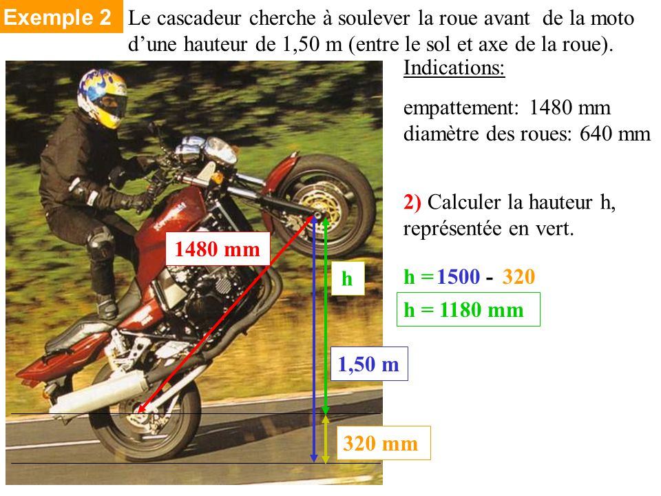 Indications: empattement: 1480 mm diamètre des roues: 640 mm 2) Calculer la hauteur h, représentée en vert.