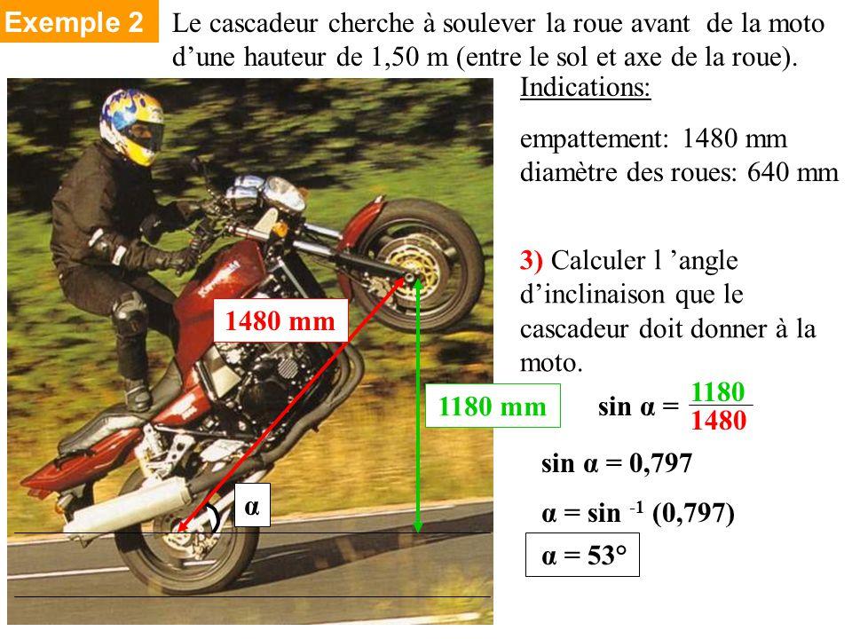 Le cascadeur cherche à soulever la roue avant de la moto dune hauteur de 1,50 m (entre le sol et axe de la roue).