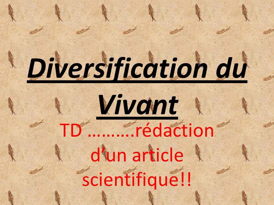 Diversification du Vivant TD ……….rédaction dun article scientifique!!