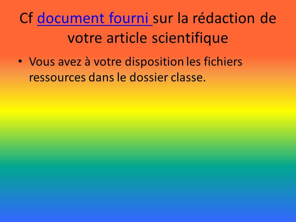 Cf document fourni sur la rédaction de votre article scientifiquedocument fourni Vous avez à votre disposition les fichiers ressources dans le dossier classe.